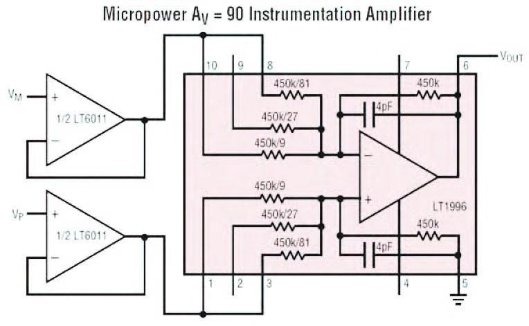 Figura 13: impiego dell'LT1996 come amplificatore differenziale da strumentazione con ingresso ad alta impedenza (si notino i buffer LT6011).