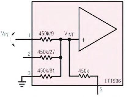 Figura 12: impiego dei resistori integrati per l'implementazione di un attenuatore in ingresso.