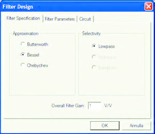Figura 4: l'approssimazione di Bessel consente la progettazione di soli filtri passa-basso.