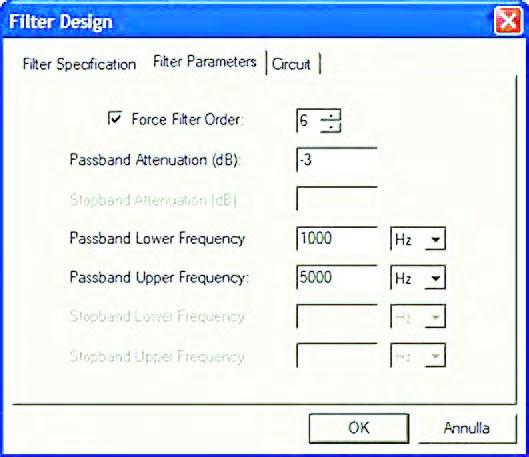 """Figura 7: l'utente può imporre l'ordine del filtro attraverso il check-box """"Force Filter Order"""" della pagina Filter Parameters del form Filer Design. Alcune dei parametri caratteristici che definiscono la selettività sono in questo caso determinate automaticamente dal CAD."""