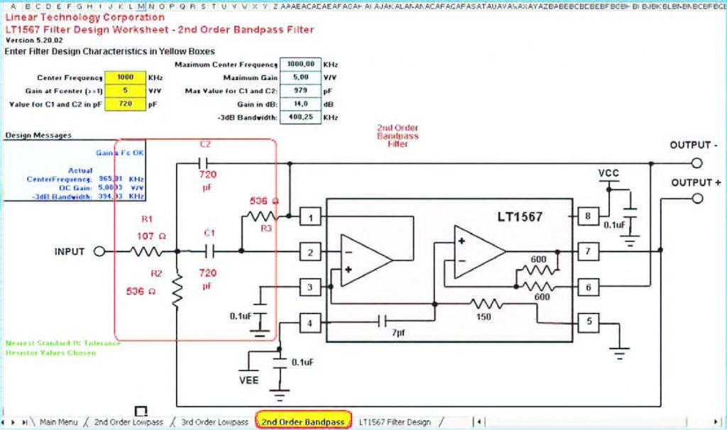 """Figura 20: la pagina """"2nd Order Band Pass"""" è un foglio di calcolo all'interno del quale è possibile dimensionare un filtro passa-banda del secondo ordine realizzato intorno al chip LT1567. Si notino le differenze circuitali con la configurazione passa-basso di figura 18"""