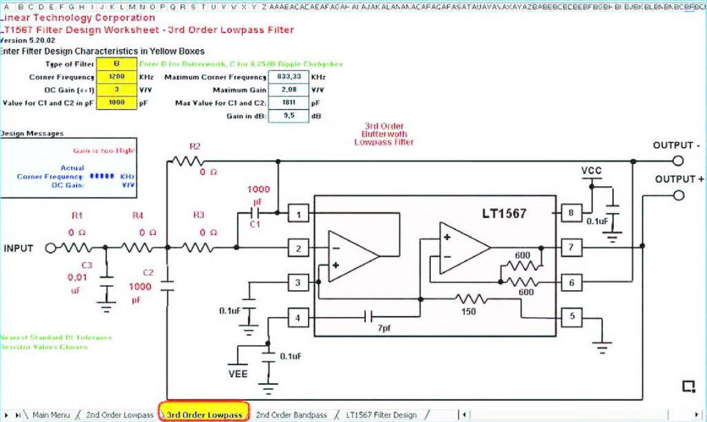"""Figura 19: la pagina """"3rd Order Low Pas""""s è un foglio di calcolo all'interno del quale è possibile dimensionare un filtro passa-basso del terzo ordine realizzato intorno al chip LT1567"""