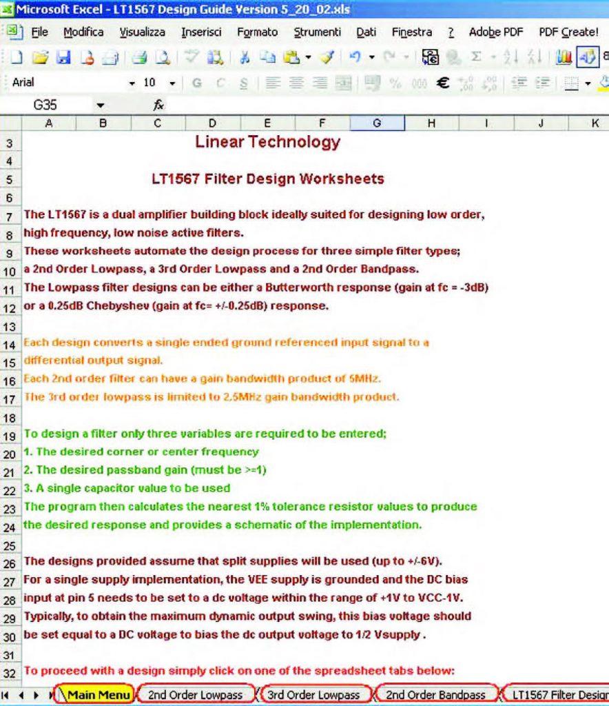 Figura 17: la pagina principale del Tool LT 1567 Design Guide (Main Menu) riporta una semplice descrizione generale del foglio di calcolo e delle sue funzionalità