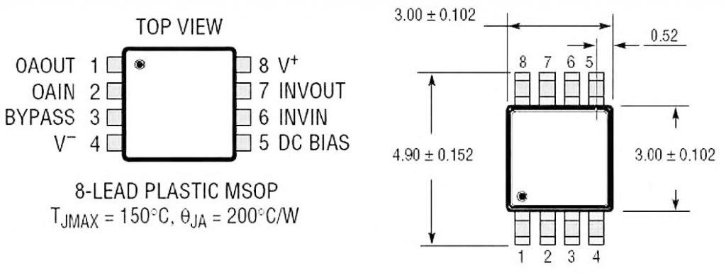 Figura 2: package (MSOP-8) del chip LT1567