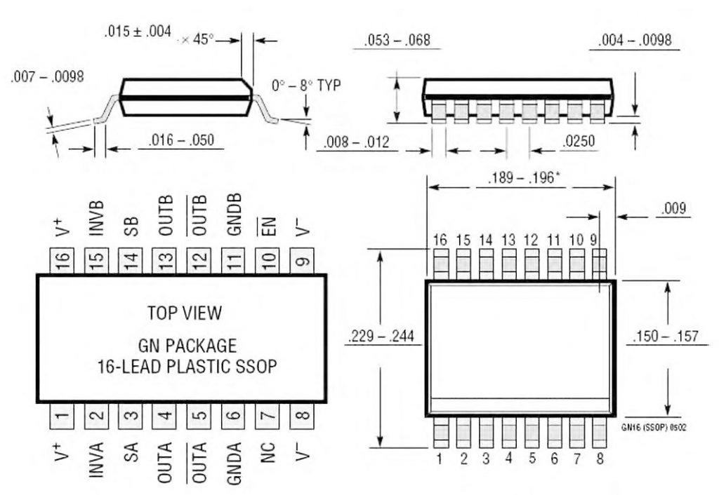 Figura 10: package (SSOP 16) del chip LT1568