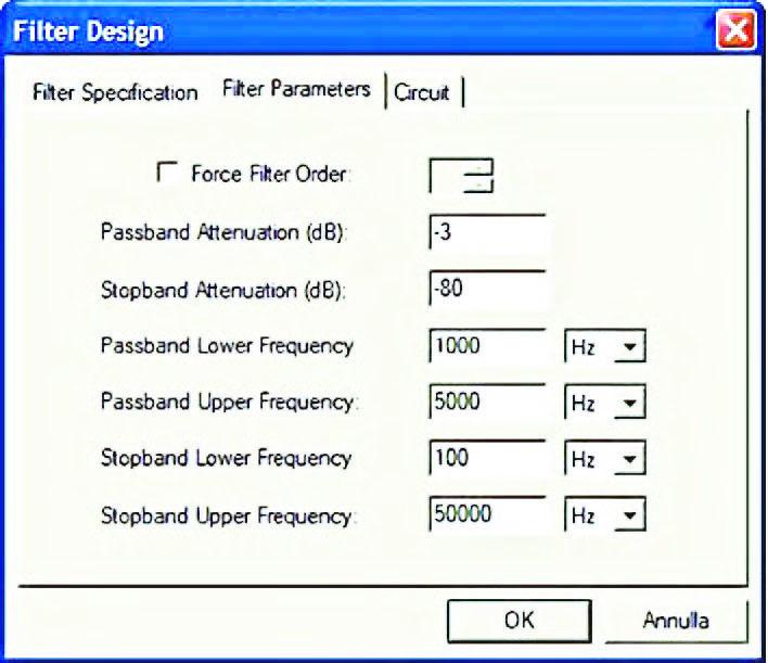 """Figura 6: pagina """"Filter Parameters"""" del form Filter Design. All'interno di questa pagina vanno inseriti i valori dei parametri che definiscono le caratteristiche di selettività del filtro."""