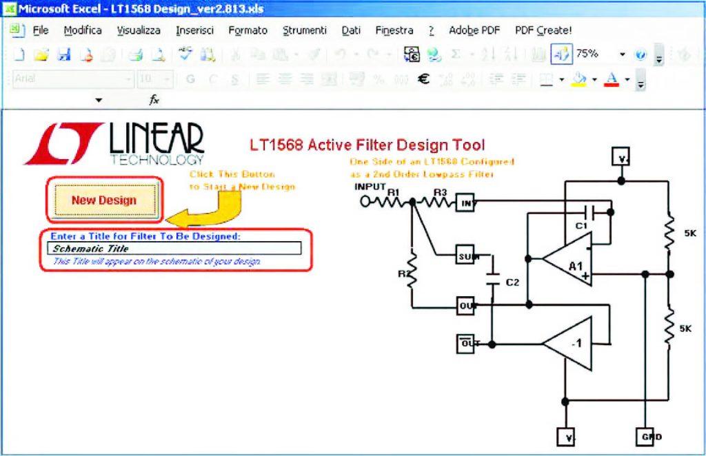 """Figura 22: pagina principale del foglio di calcolo """"LT1568 Active Fileter Design Tool"""". Si noti la struttura generale del filtro, l'area in cui inserire il titolo del progetto e il pulsante di avvio della configurazione automatica del circuito"""