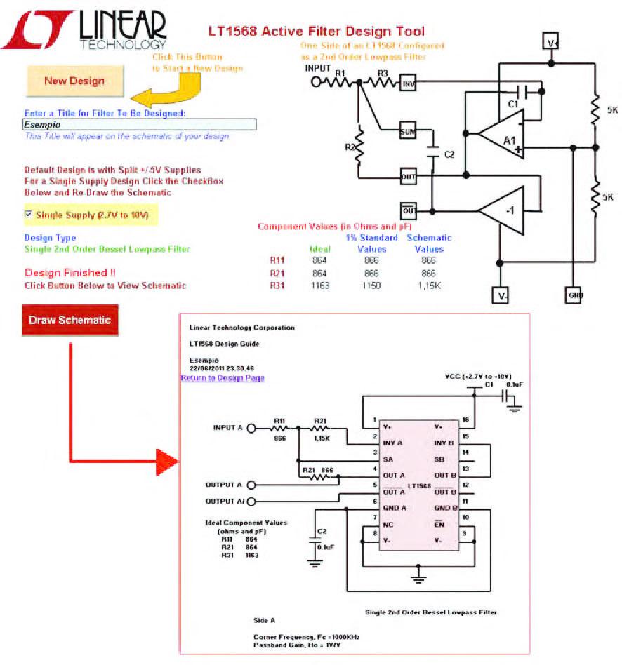 Figura 25: qualunque percorso di progetto si sia seguito all'interno del foglio di calcolo LT 1568 Filter Design, alla fine di esso si giunge al dimensionamento di tutti i componenti passivi esterni che concorrono a comporre il circuito di filtro e alla presentazione a video del circuito completamente dimensionato
