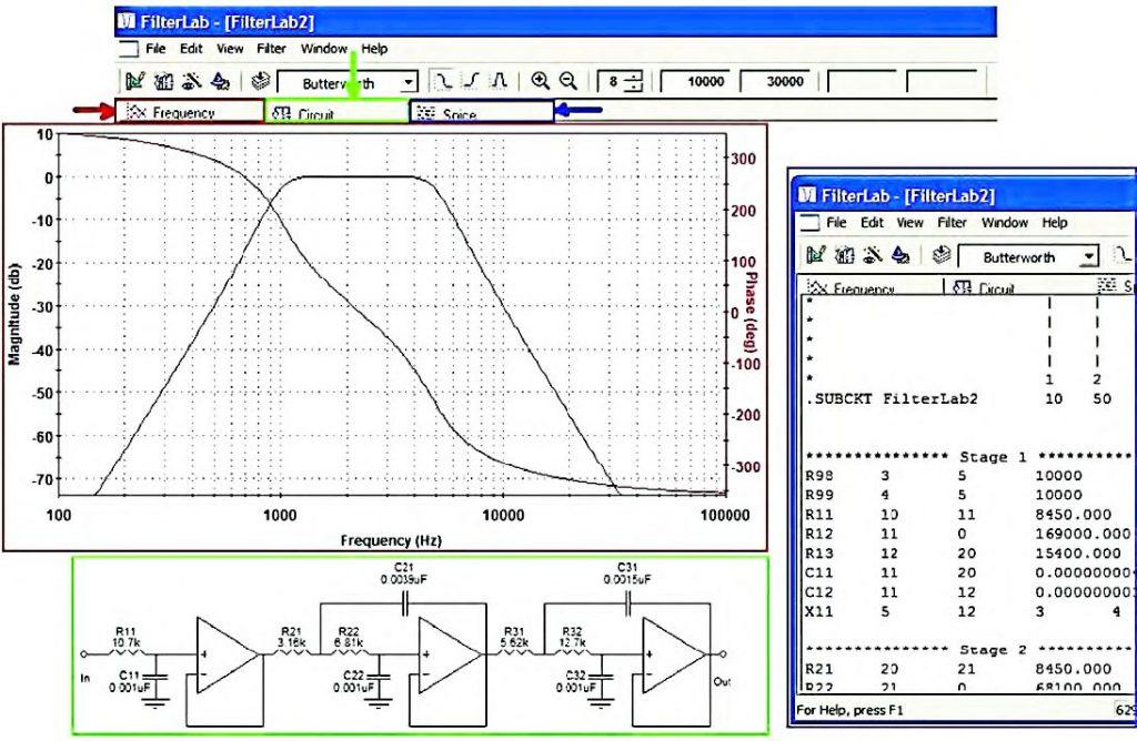 Figura 11: risultati della progettazione (tab Frequency, Circuit e Spice).