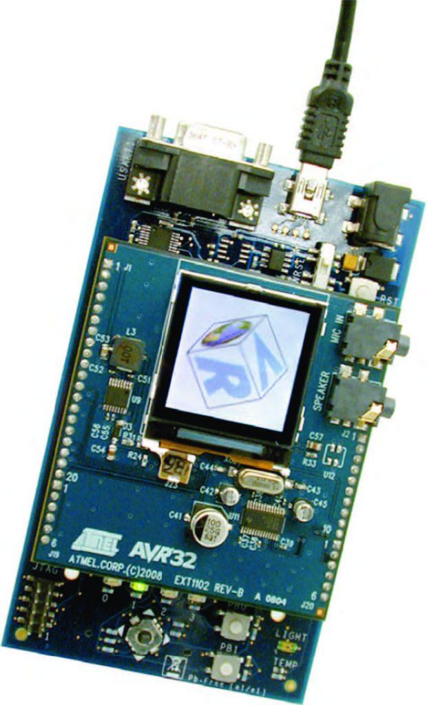 Figura 1: la scheda EVK1101 con modulo di espansione per LCD.