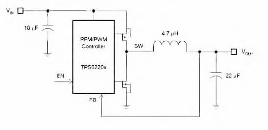 Figura 1: schema base di un regolatore buck con TPS62204.