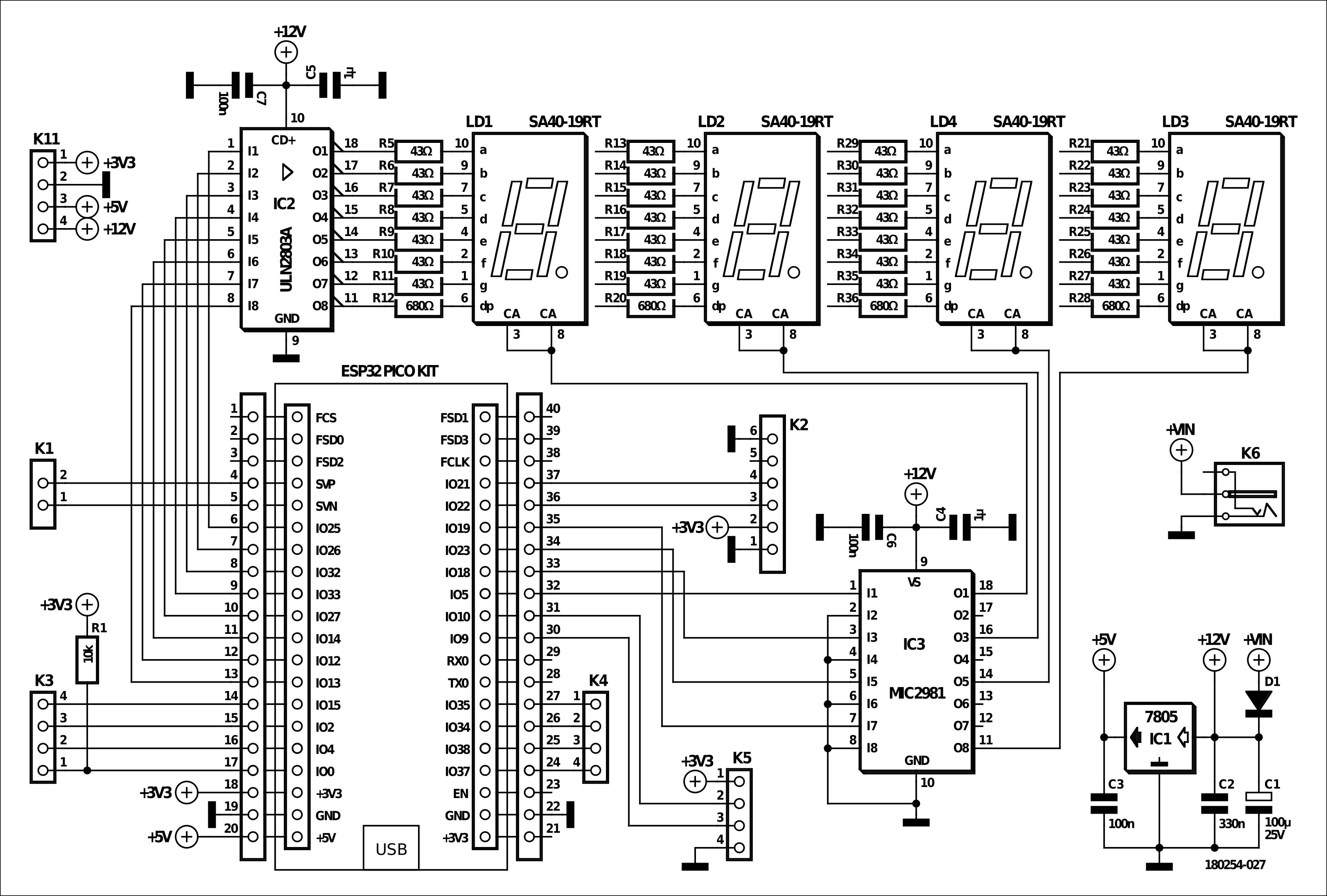 Figura 3: il circuito dell'intero orologio e del display è davvero semplice grazie alla presenza dell'ESP32