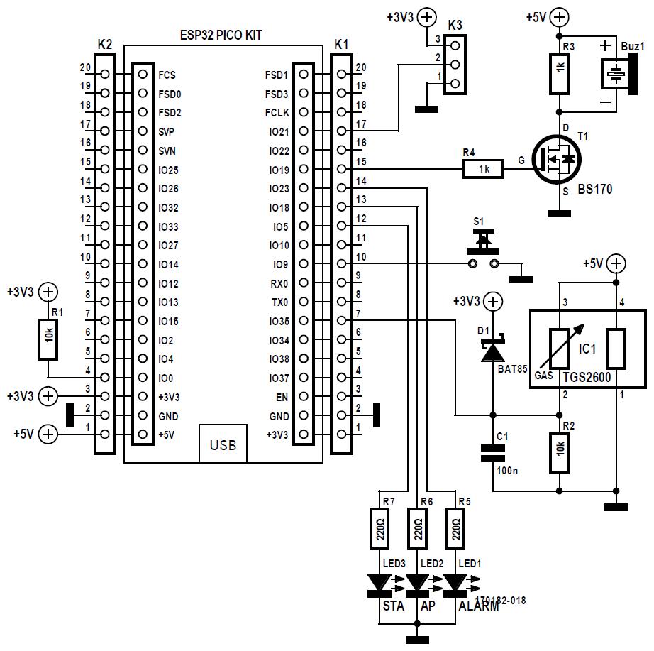 Figura 5: l'unità del sensore è composta da ESP32, dal cicalino, da tre LED, dal pulsante, dal sensore di qualità dell'aria IC1 e dalla connessione per un sensore di temperatura tramite K3