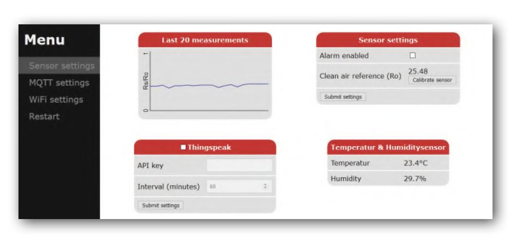 Figura 12: impostazioni nell'interfaccia Web per l'unità sensore