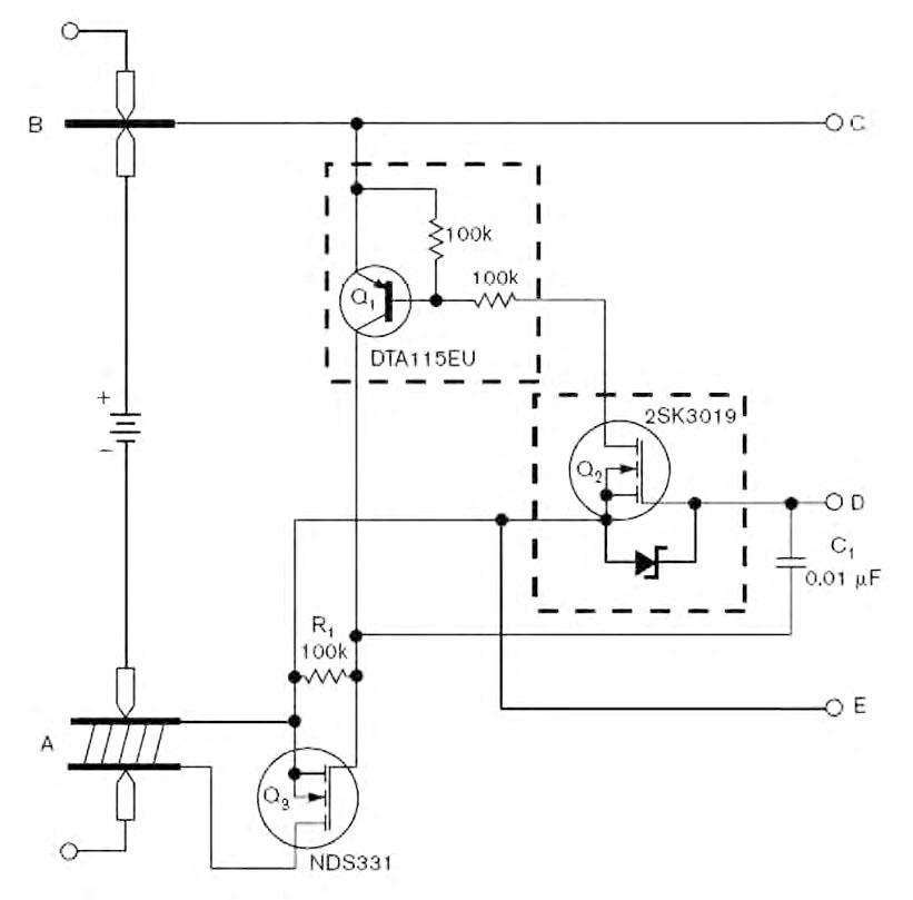 Figura 1: touch controller analogico per scollegare l'alimentazione di un dispositivo a batteria.