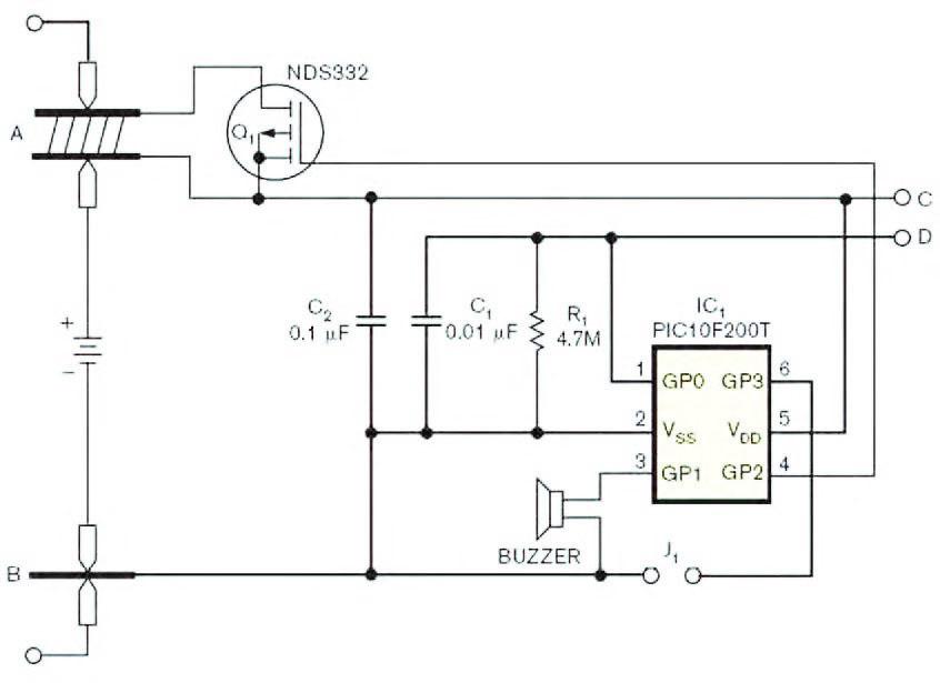 Figura 3: touch controller digitale per scollegare l'alimentazione di un dispositivo a batteria, nel caso il polo negativo sia difficilmente accessibile.