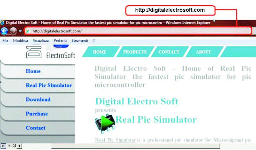 Figura 1: dal sito web di Digital Electro Soft (http://digitalelectrosoft.com/) è possibile effettuare il download della versione trial di Real PIC Simulator (v. 1.3) caratterizzata da alcune limitazioni rispetto a quella dotata di licenza e da un periodo di validità di 30 giorni [1].