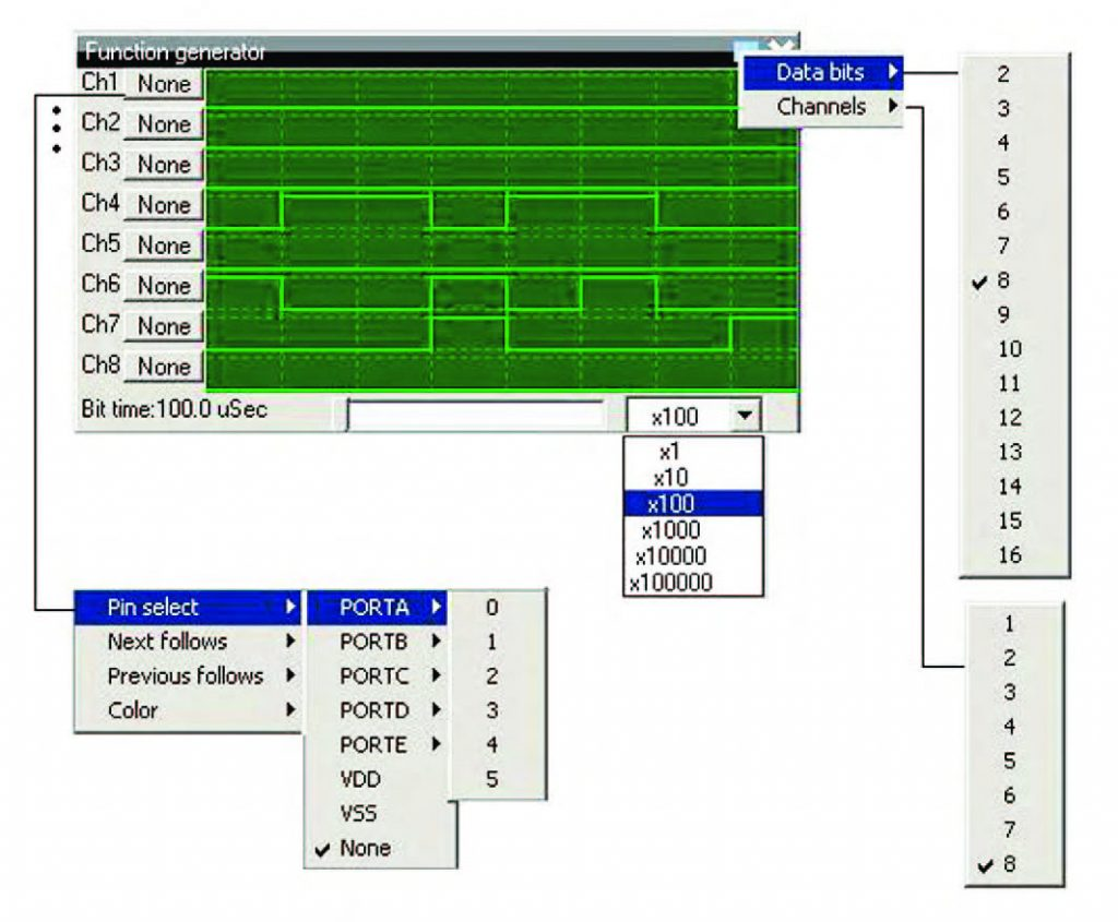 """Figura 26: esploso delle funzioni di impostazione del """"Generatore di funzioni"""" virtuale (8 canali)."""