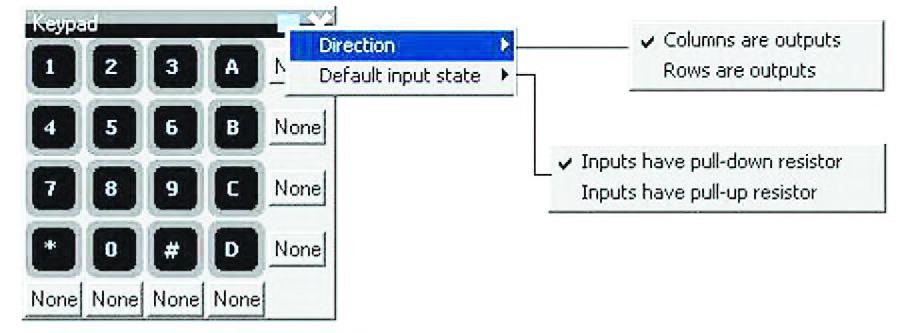 """Figura 21: esploso delle funzioni di impostazione del """"keypad 4x4"""" virtuale."""