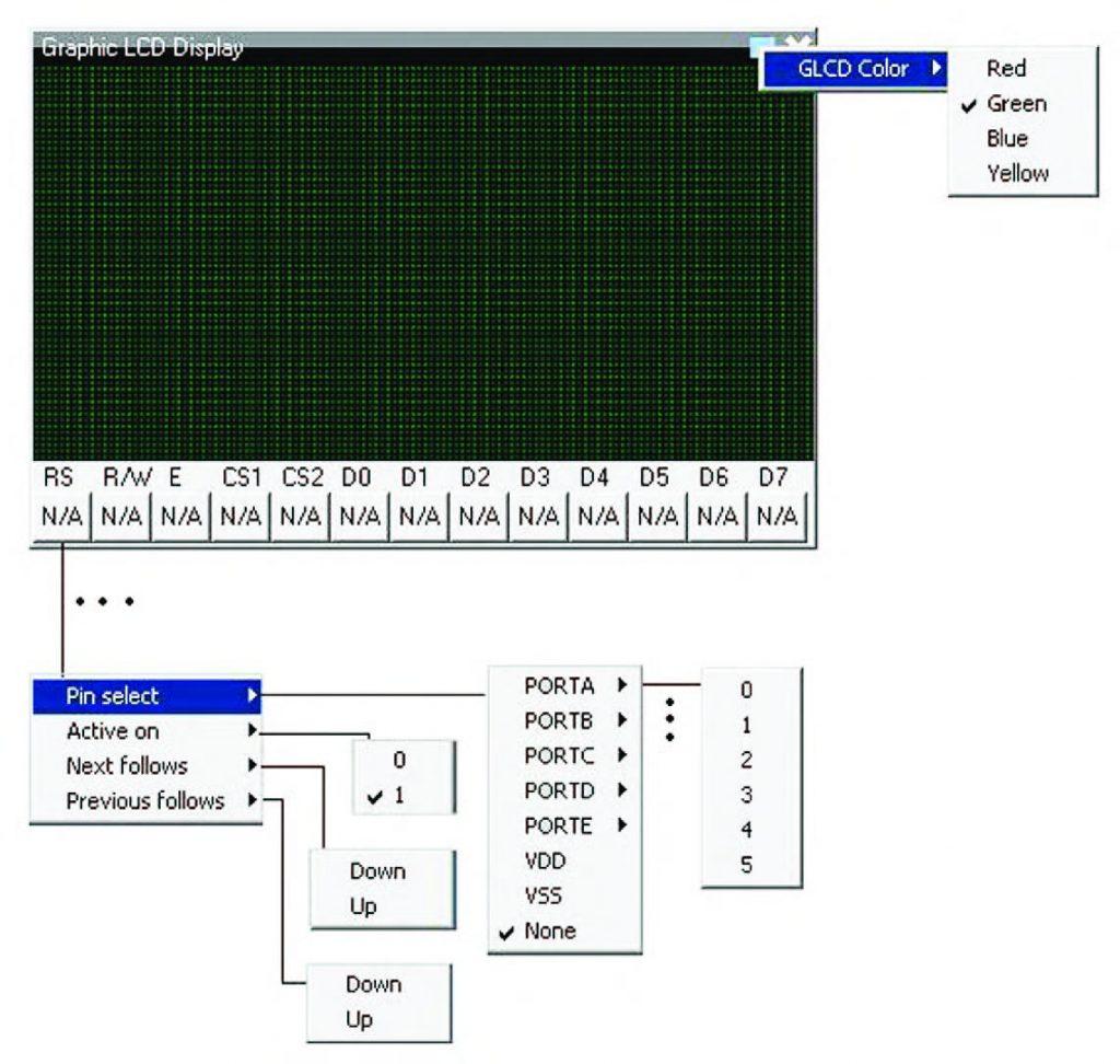 """Figura 24: esploso delle funzioni di impostazione del """"Display grafico"""" virtuale (128x64 pixel Samsung KS107/KS108 compatibile)."""