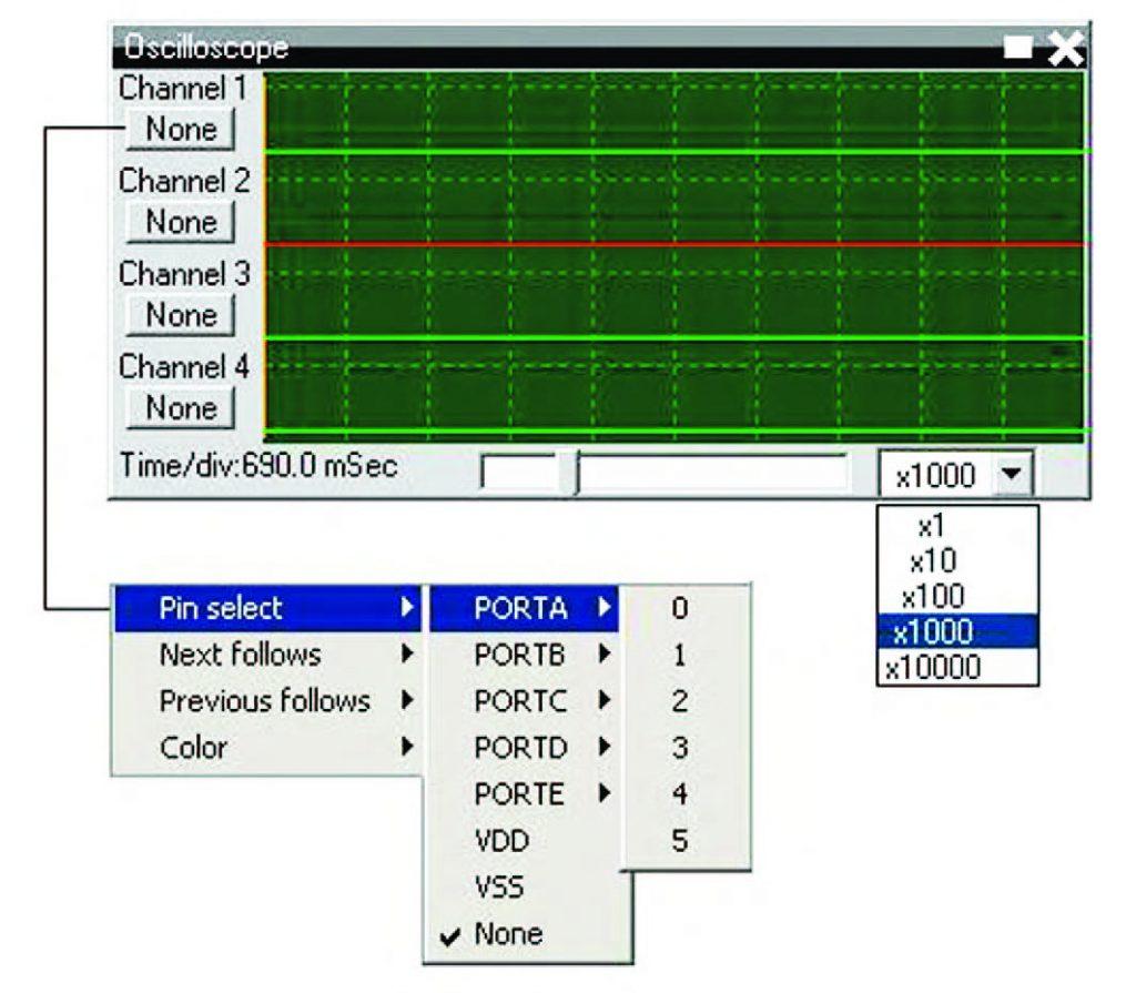 Figura 23: esploso delle funzioni di impostazione dell'oscilloscopio virtuale.