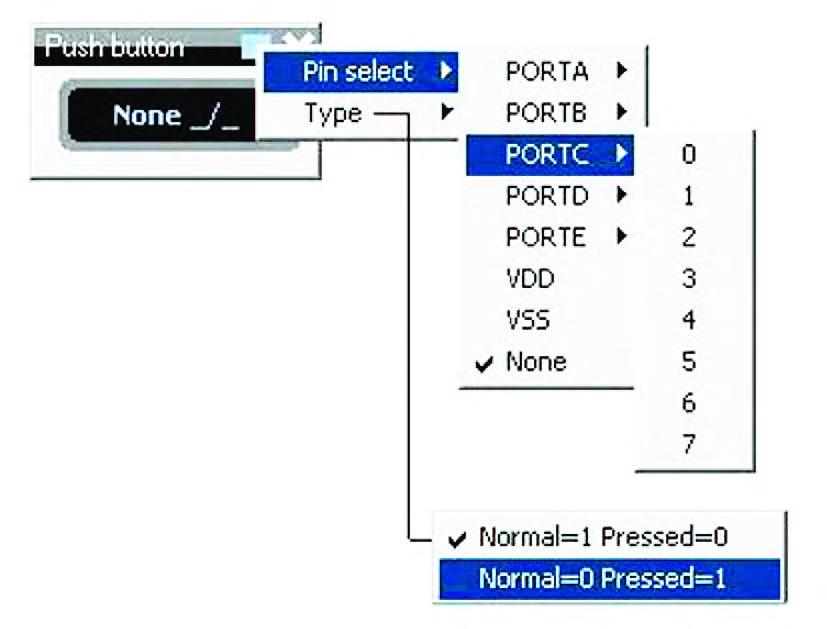 """Figura 20: esploso delle funzioni di impostazione di un """"Push Button"""" virtuale."""