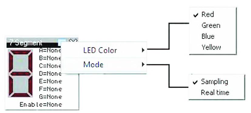 """Figura 18: esploso delle funzioni di impostazione di un """"Dispaly 7 segmenti"""" virtuale."""