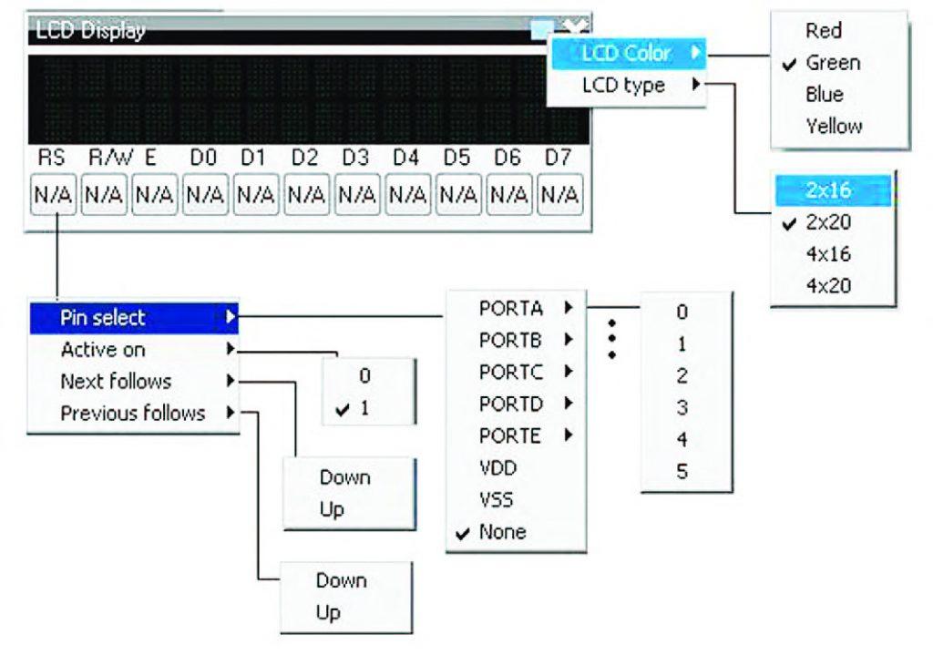 Figura 15: esploso delle funzioni di impostazione di un LCD Display virtuale.