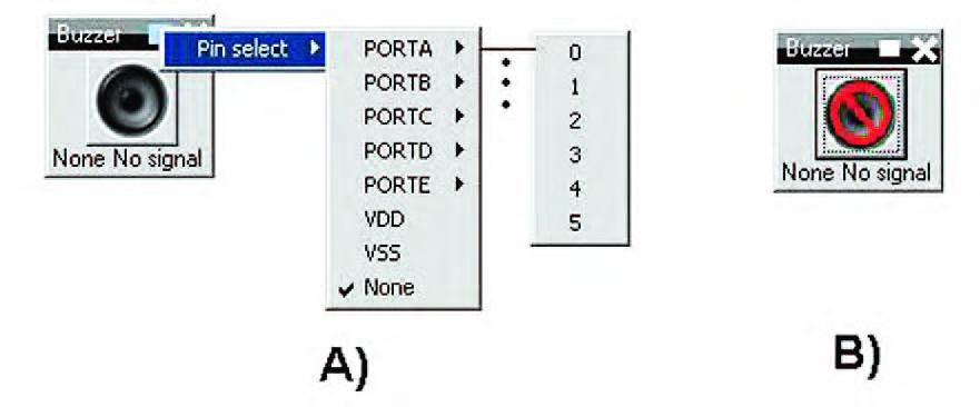 """Figura 25: A - esploso delle funzioni di impostazione di un """"buzzer"""" virtuale; B - buzzer interdetto."""
