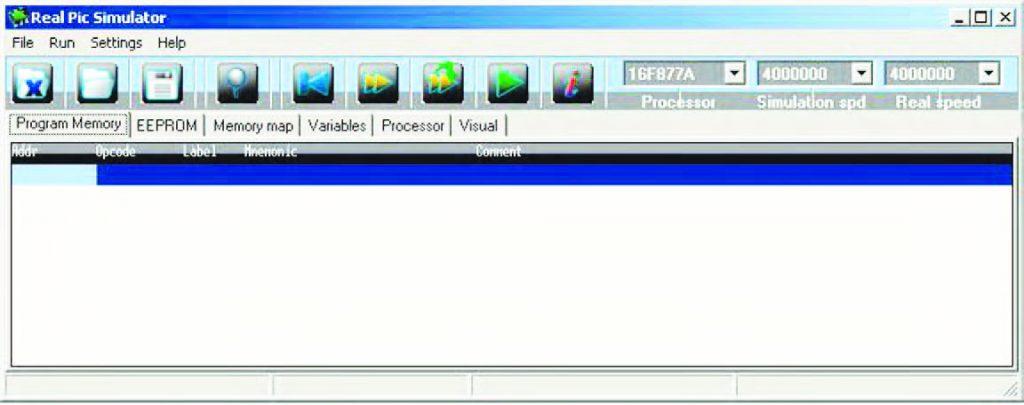Figura 3: l'interfaccia utente di Real PIC Simulator all'avvio.