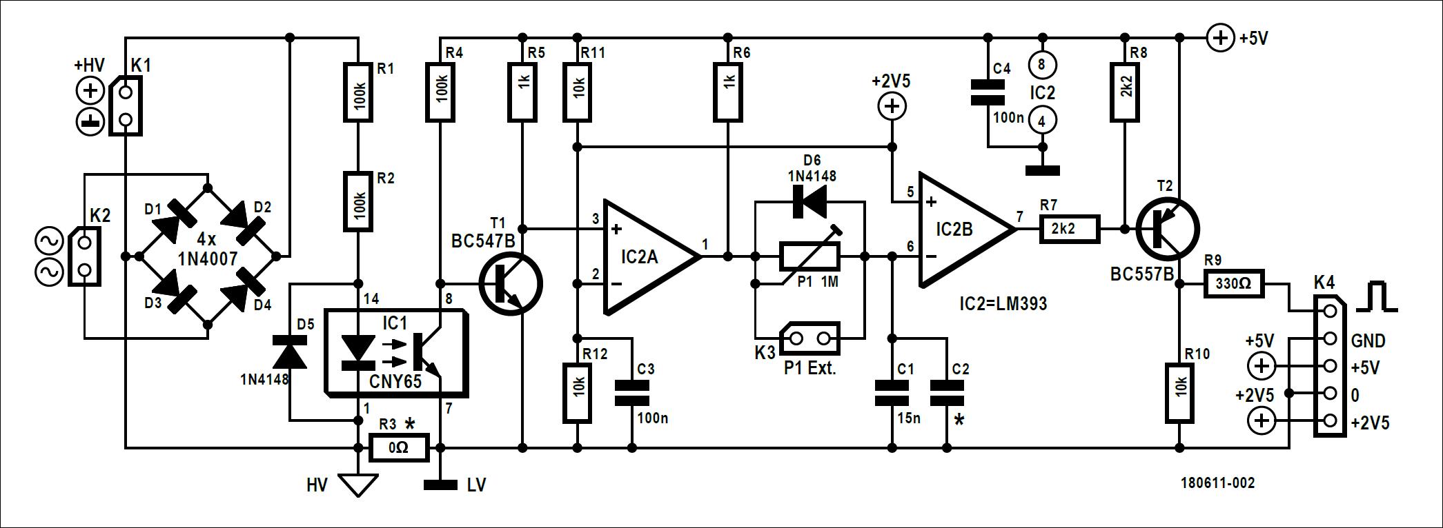 Figura 1: questi pochi componenti consentono ai dispositivi SCR, come tiristori e triac, di essere testati dinamicamente in modo sicuro e controllato. Per comodità la tensione di accensione SCR è sincronizzata con la tensione di rete