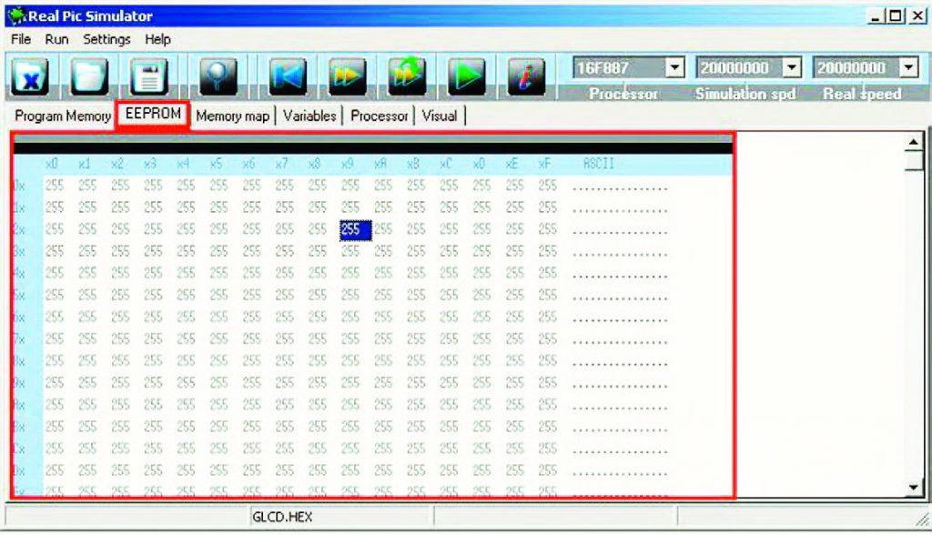 """Figura 9: tab panel """"EEPROM""""."""