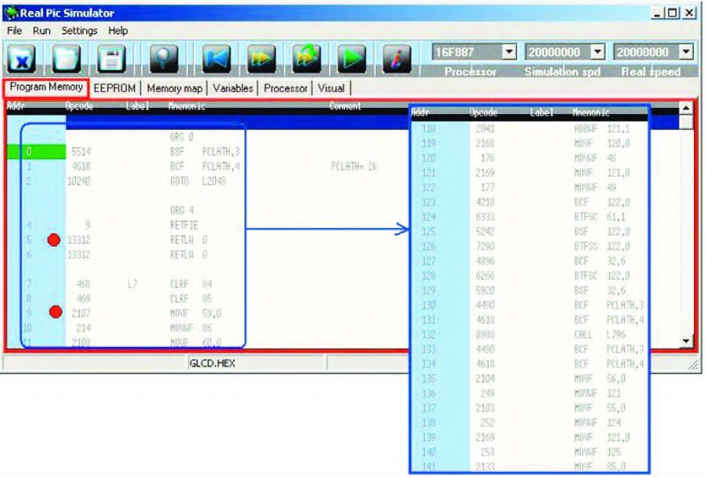 """Figura 8: tab panel """"Program Memory"""" (si notino i breakpoint che appaiono evidenziati in rosso)."""