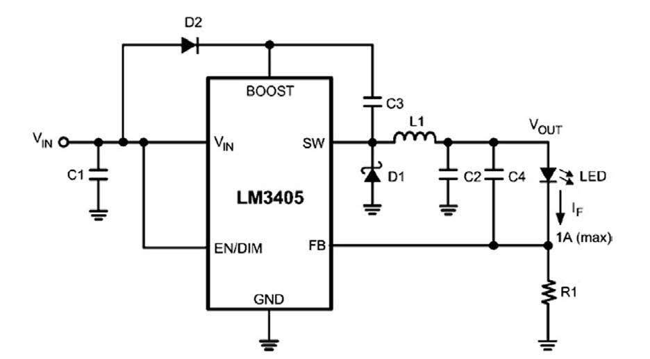 Figura 2: un LM3405 pilota un LED ad alta luminosità.