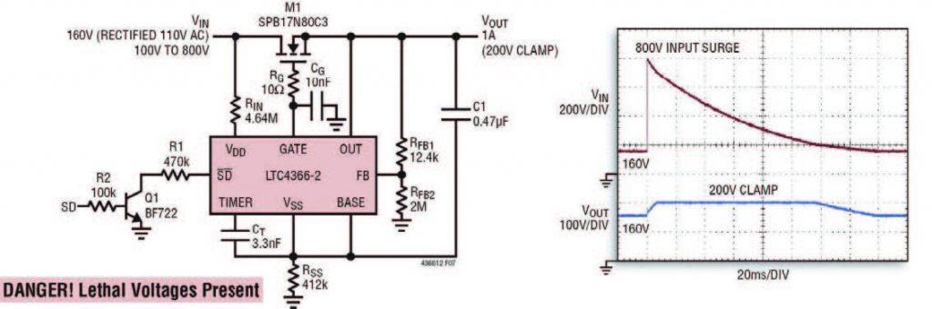 Figura 3: LTC4366, surge stopper fluttuante ad alta tensione.