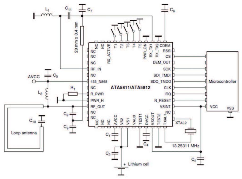 Figura 2. Schema circuitale di principio di una chiave elettronica per applicazioni RKE mediante il ATA5580
