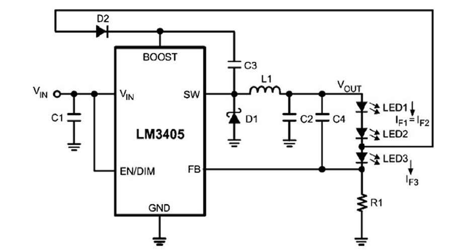 Figura 6: autopolarizzazione della tensione di boost da una stringa di LED.