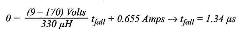 Figura 8: calcolo del tempo di discesa dell'intensità di corrente.