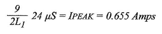 Figura 7: calcolo dell'intensità di corrente che attraversa l'induttore.