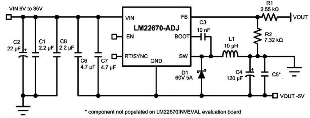 Figura 6: circuito della LM22670 Evaluation Board.