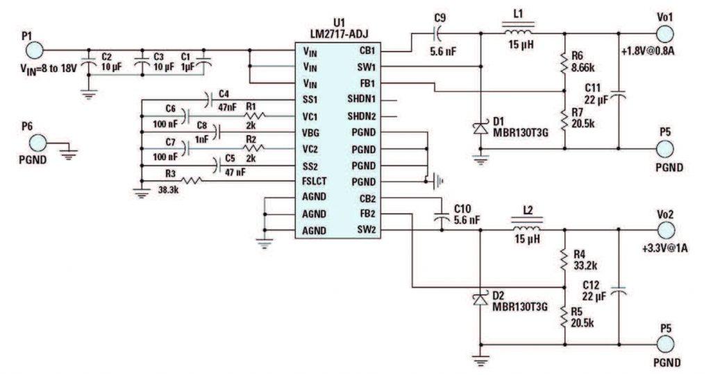 Figura 2: convertitore buck duale con LM2717.