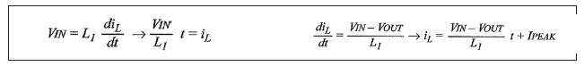 Figure 3-4: equazioni che mostrano gli andamenti della corrente nell'induttore