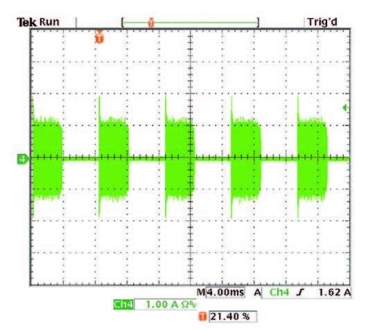 Figura 8: forma d'onda della corrente d'ingresso quando il dimmer è impostato vicino alla metà del dimmer.