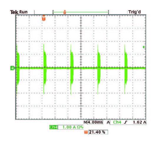 Figura 11: forma d'onda della corrente di ingresso quando il dimmer è impostato sulla resa luminosa minima.