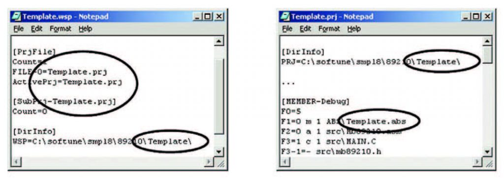 Figura 11: modifiche ai file 'my_application.prj' e 'my_application.wsp'.