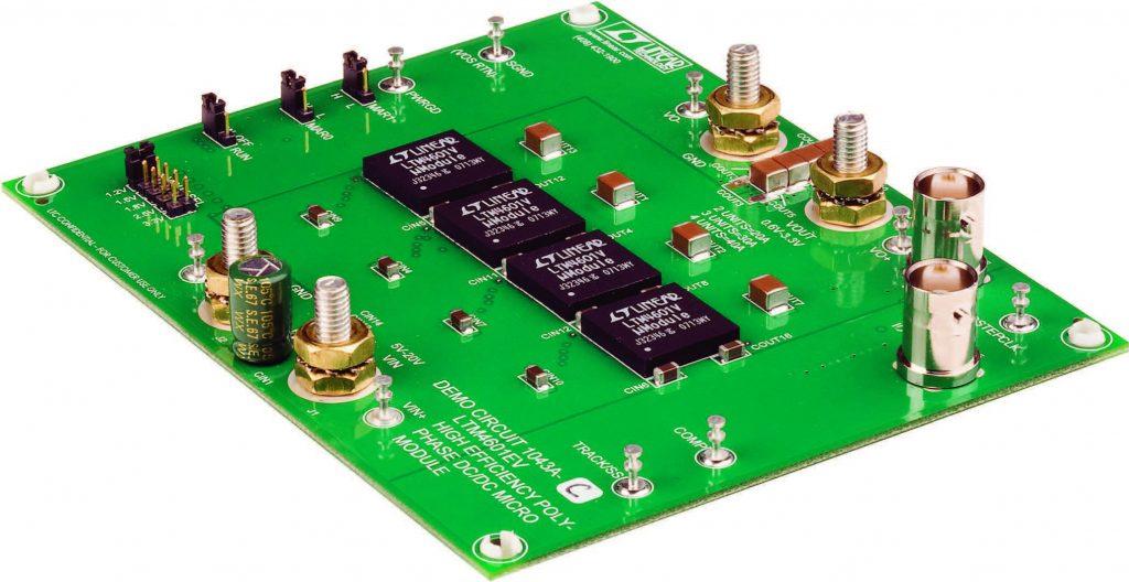 Figura 1: quattro regolatori μModule DC/DC condividono la corrente per regolare 1,5 V a 48 A con un profilo di soli 2,8 mm e un ingombro di 15 mm x 15 mm per ogni dispositivo. Ogni regolatore μModule pesa solo 1,7 g e ha un formato da circuito integrato facilmente utilizzabile con qualsiasi sistema 'pick-andplace' durante il montaggio della scheda.