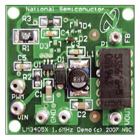 Figura 1: scheda di valutazione LM3405XEVAL; il componente LM3405 è U1.