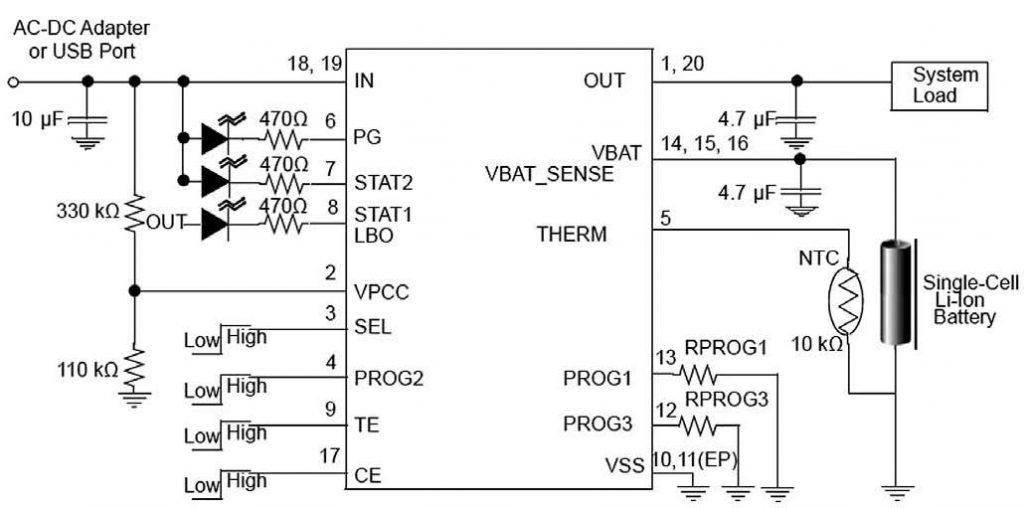 Figura 1: schema applicativo tipico del MCP73871.