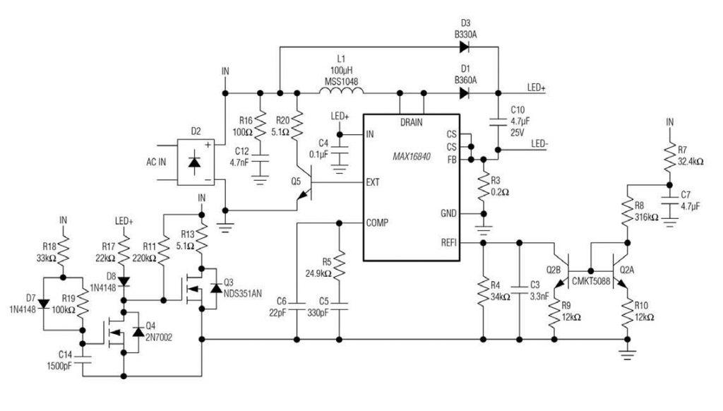 Figura 1: schema del driver LED HB MAX16840 in una configurazione di boost per le lampade a LED MR16. Questa configurazione fornisce una buona compatibilità con i trasformatori elettronici.