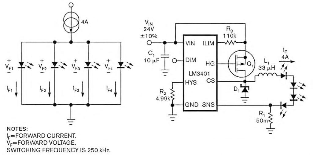 Figura 3: schematizzazione e circuito del secondo test con quattro LED percorsi da una corrente fissa di 4 A.